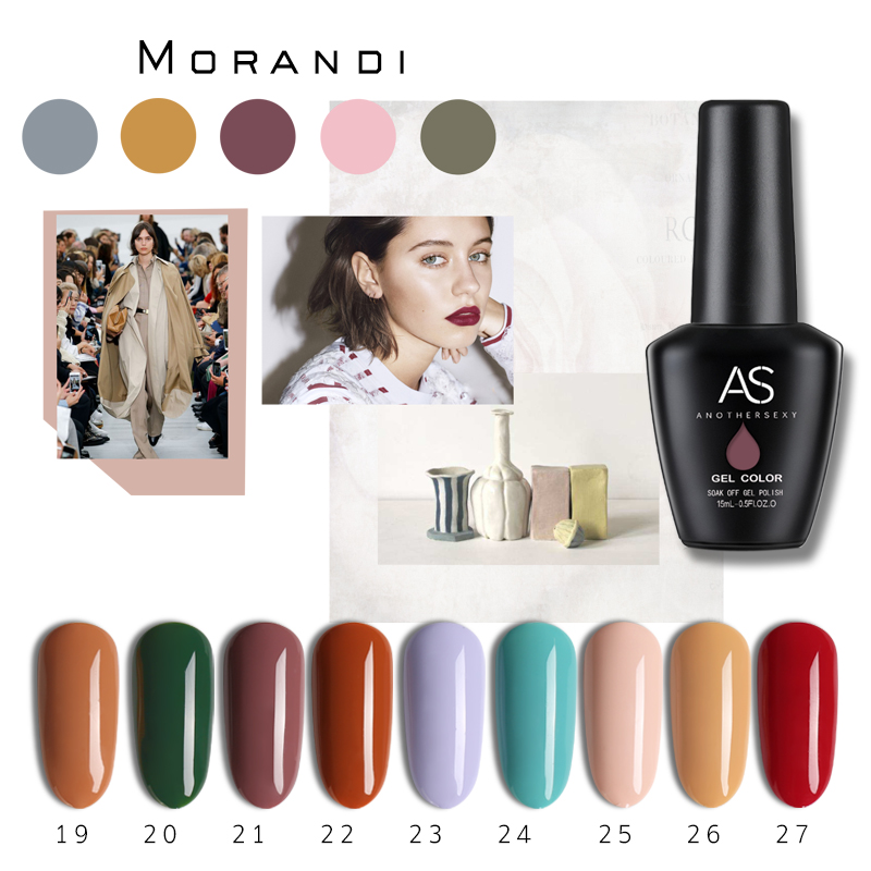 AS 36 color Morandi Color System Nail <strong>Gel</strong> Polish Long Lasting <strong>Gel</strong> Varnish Soak Off UV Led 15ML Nail Art <strong>Gel</strong> Polish