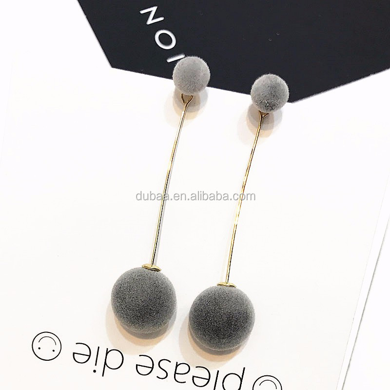 Double Ball Long Drop Dangle Ball Earrings 2017