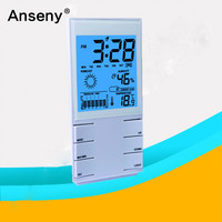 Garden Digital wall clock thermometer with hygrometer backlight weather station alarm clock