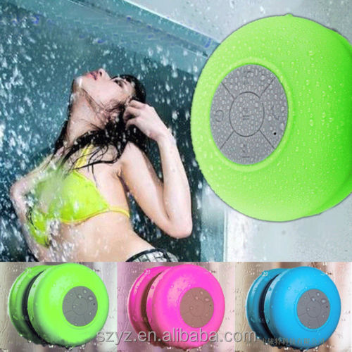 Amazon HOT selling BTS-06 Wireless Bluetooth Green Waterproof Mic Suction Speaker Shower Bath Cup