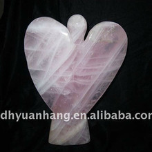 Beautiful rose quartz crystal angel,handmade quartz crystal angel for gift, crystal stone carved angel