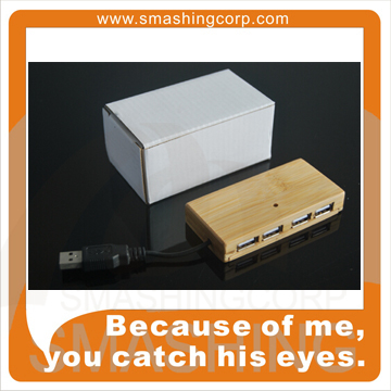 Bamboo/Wooden Usb Hub with 4 Port for Promotional Gift