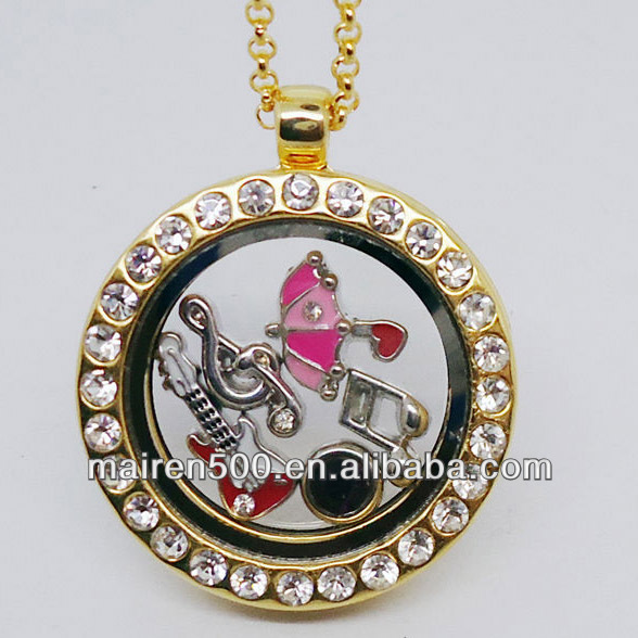 (in stock) gold jewelry magnetic closure floating charms lockets wholesale with chain