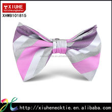 Mens Fashion New Polyester Textured Colorful Striped Bow Tie