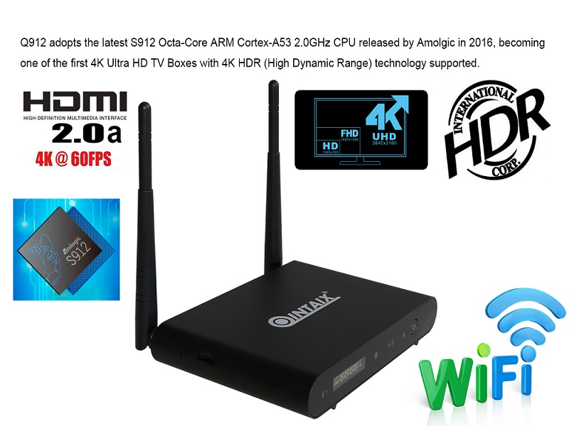 Newest Alumiun case Q912 Amlogic s912 Octa core Full HD Media Player for smart home