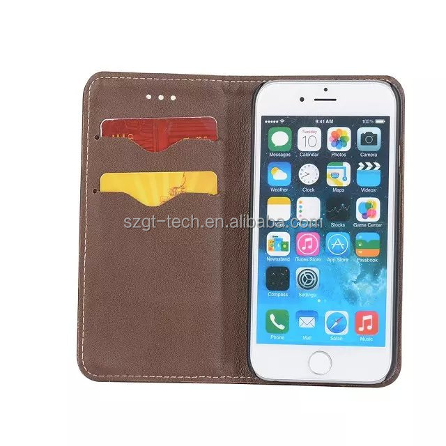 wholesale flip Stand two mobile phone real leather Case for iPhone 6 6S plus