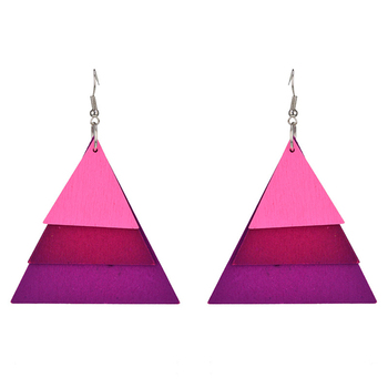2017 New fashion Alibaba wood jewelry multi-layered geometric triangle wooden earrings wholesale