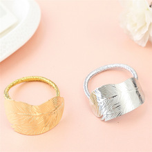 New Fashion Gold Silver Plated Hair Band Solid Metal Leaf Black Bands Hair Rope Hair Accessories