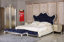 Synthetic leather Royal Rococo royal russian bedroom furniture