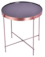 Hot sale fashion modern simple design rose golden red copper silver plate metal iron pan round side table