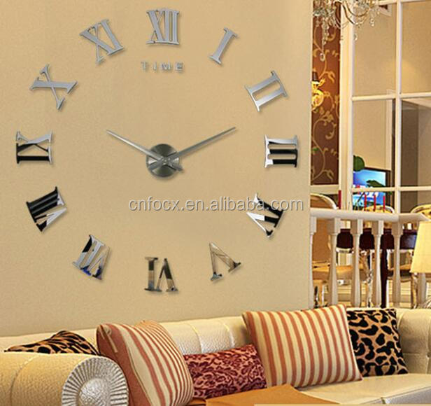 2017 new home decor large roman mirror diy wall clock / large metal wall clock / wall sticker clock
