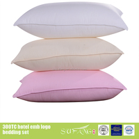 Factory price in China color and design custom feather fabric material bed pillow
