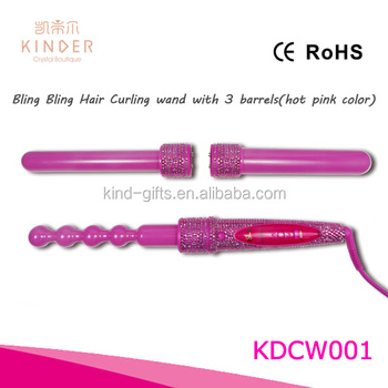Pop fashional bling bling diamond beaded pure color sonic ceramic curling wand