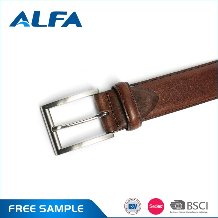 Alfa 2017 New Product High Quality Custom Classic Pure Genuine Leather Belts For Men