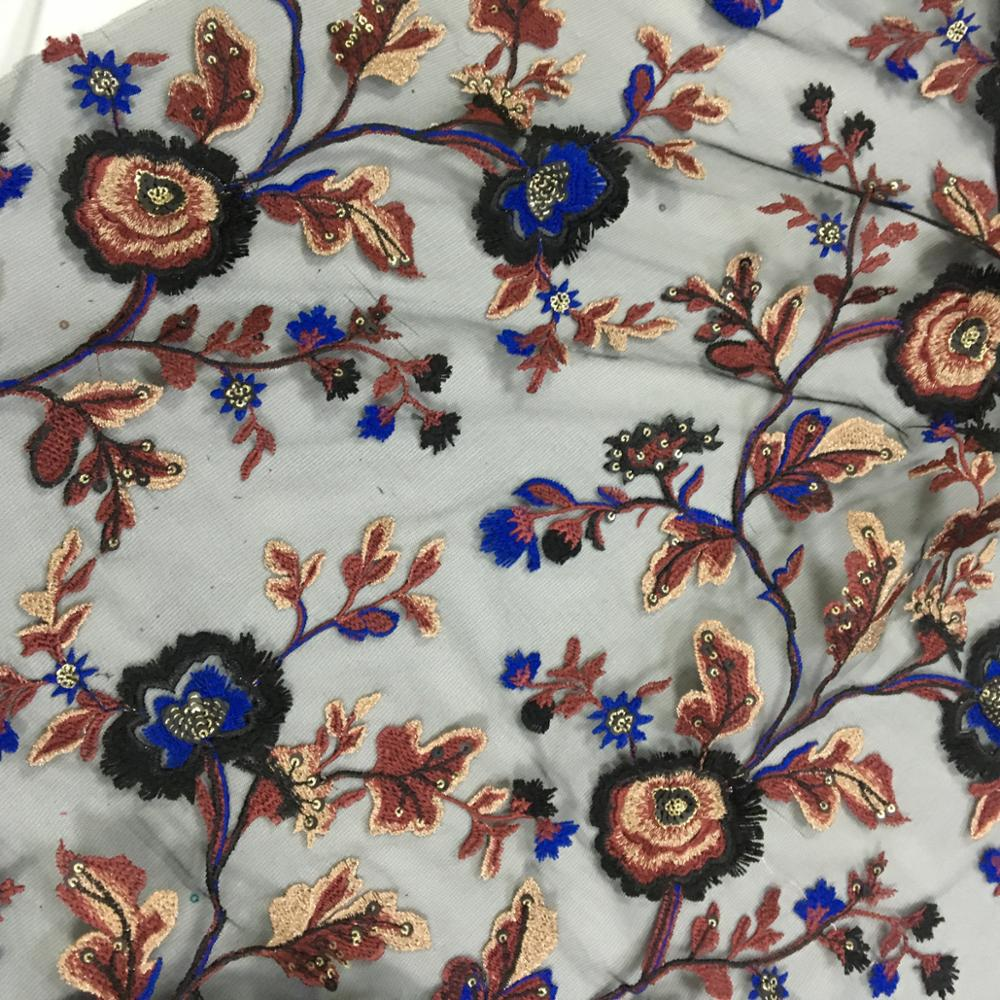 Fashion sequins embroidery fabric for woman dress and garment