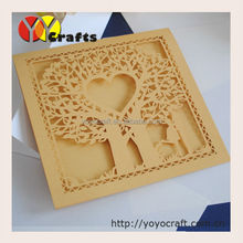 Elegant customer design Love Tree Wedding Invitation Card Laser Cut Wedding Invitations Gold