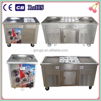Hot Sale China Thailand Double 2 Flat Pan Roll Fry Fried Ice Cream Machine