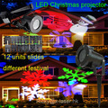 holiday light led film slide Projector Rotating Led Projection Light Snowflake Spotlight, Multi Slides Landscape Led Light Show
