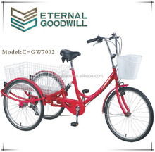Adult tricycle with rear basket GW7002 single or 6 speeds trike 24 inch 3 wheel cargo bike
