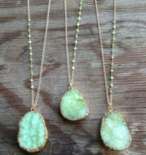 Green - Druzy - Green Beads Necklace Boho Drusy Stone Pendant Green Druzy Necklace