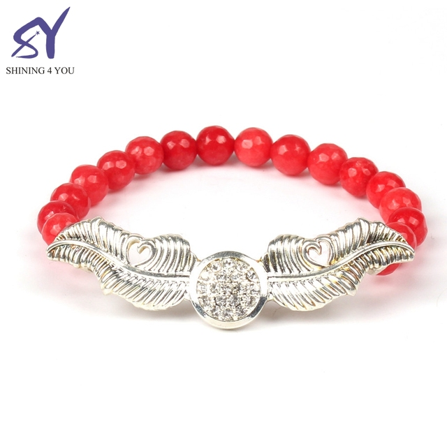 2018 Women Slice Red Semiprecious Stone with Two Silver Leaves and Diamond Red Bead Bracelet Jewelry