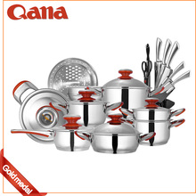 19pcs thermometer stainless steel cookware set
