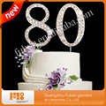 funny crystal rhinestone number 80 cake topper for cake decorating/wedding anniversary