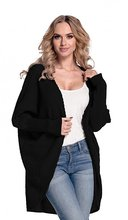 Womens Warm Buttonless Cardigan Chunky Textured Sweater