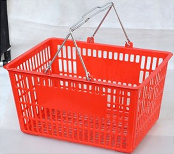 colorful hand carry plastic shopping basket for sale with size 390*295*210mm