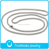 High Polish Silver 316 Stainless Steel Box Necklace Chain Men's Wholesale Chain Necklace Jewelry