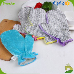 waterproof wood fiber sponge plastic hand gloves for kitchen