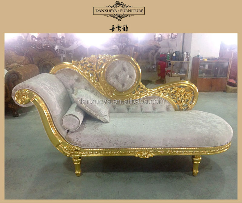 gold throne oak wood carved chaise lounge , living room sofa set
