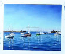 100% handmade blue ocean and ship oil painting