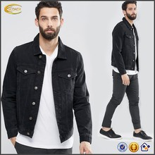 Ecoach Wholesale OEM 2016 Fashionable <strong>Men</strong> Customized Black Denim Jacket Long Sleeve Functional pockets Cotton jackets for Man