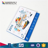 2016 promotional spiral-bound desktop calendar with pen holder and memo note pad
