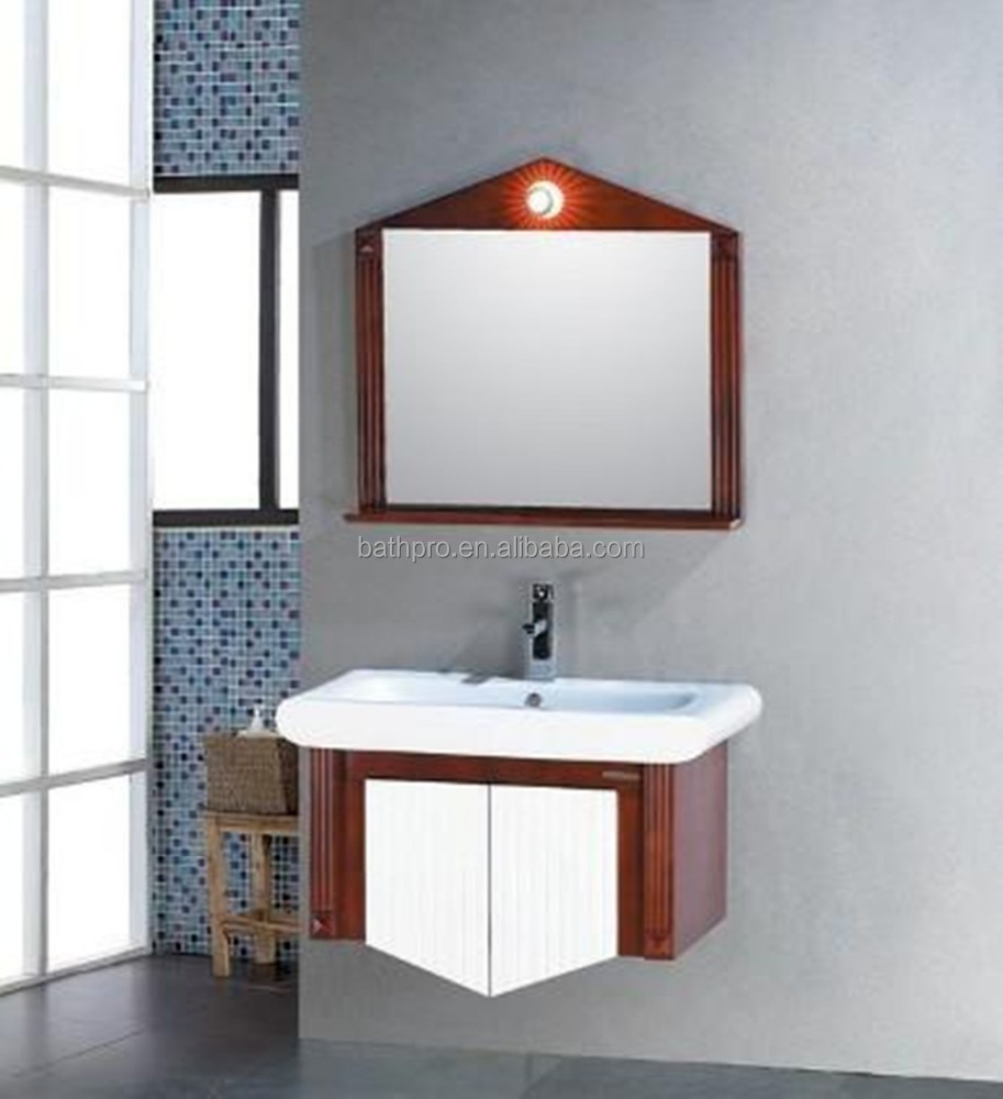 Waterproof solid wood bathroom cabinet with light