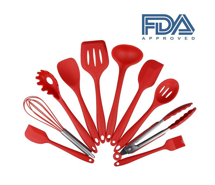 China LFGB FDA bpa free heat resistant red 10 pcs silicone kitchen utensil set