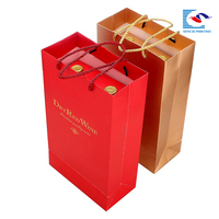 Specialty paper material gold stamping red wine packaging with handle