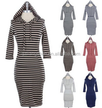 OEM Wholesale WOMEN'S Striped Cotton Long Hooded 3/4 Sleeve Bodycon Midi KnitT Dress Kangaroo Pockets Cotton Casual Dress