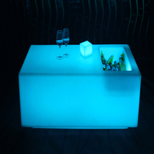 Led Furniture Glowing Long Square Bar Table with Wine Container Waterproof Plastic Table