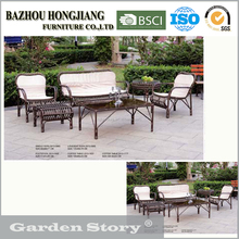 099 Round glass rattan Coffee Table and sofa covered cushion Outdoor furniture