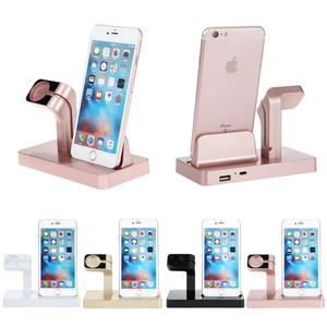 High quality hot color 2 in 1 aluminum stand for apple watch and for phone