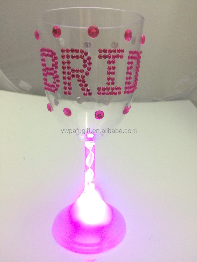 hen party Bride Led Light Up Wine Glass Cup with rhinestone For The Bride To Be Bachelorette Party Cup