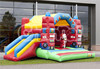 fire truck inflatable jumping bouncer with slide for sale
