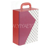 Grey and White Plaid Decoration Leather Wine Carrier