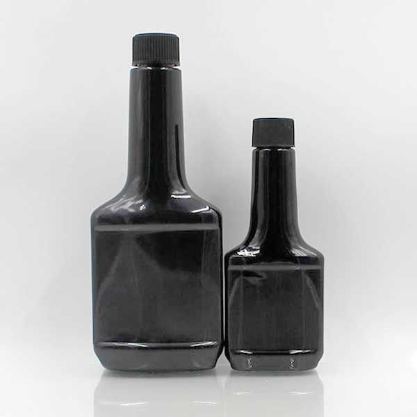 PET chemical liquid packing black long neck flat 350ml 120ml plastic fuel additive bottle for engine oil