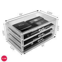 Acrylic 3 drawers Cosmetic lipstick Organizer, Jewelry storage box