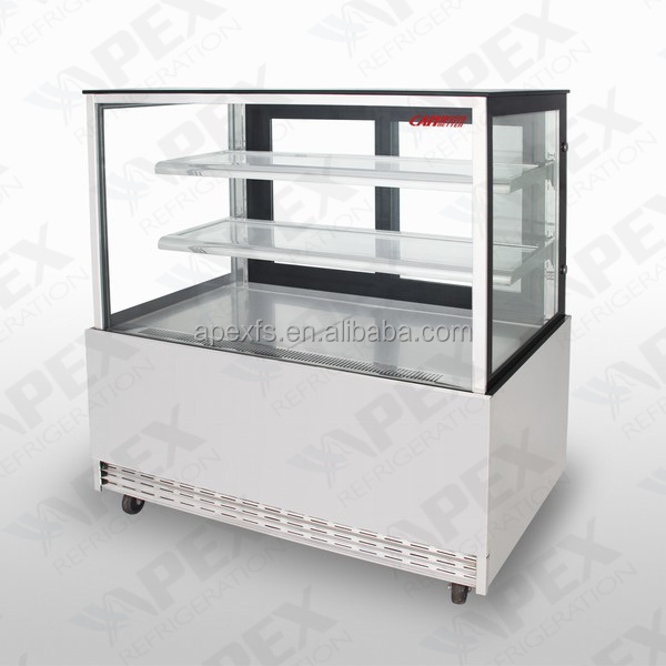 Stainless steel square glass door cake display chiller refrigerator