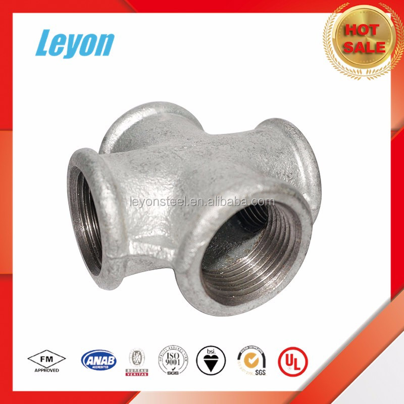 Galvanized white heart malleable iron telescopic pipe fittings cross