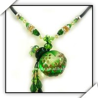 Green Perfume Bottle Baroque flat round necklace pendant beaded jewelry